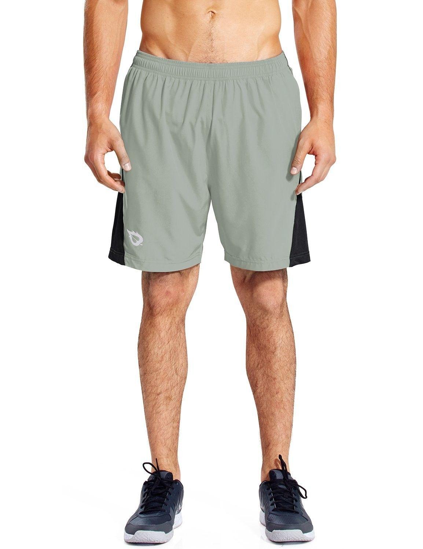 "Men's 7"" Quick Dry Workout Running Shorts Mesh Liner Zip Pockets - Light-grey - CG18DDO59MW - Sports..."