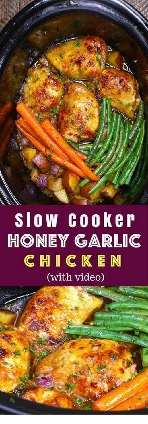 Slow Cooker Honey Garlic Chicken | Slow Cooker Recipes