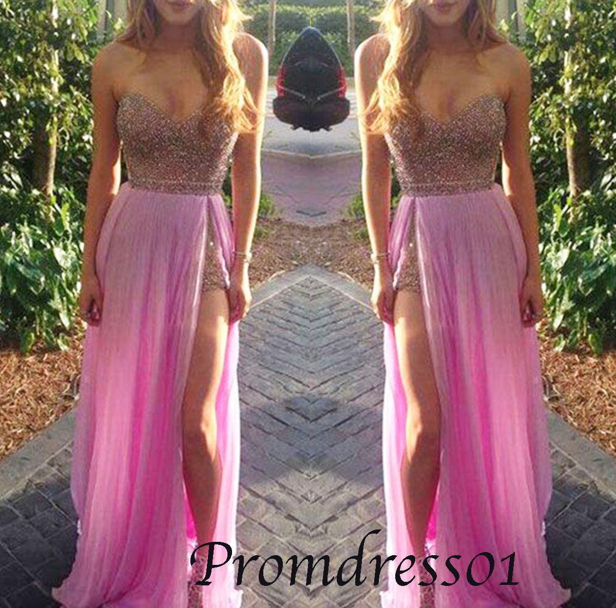Prom dress 2015, side slit chiffon prom dress for teens, prom gown,evening dress sweetheartdress.s...