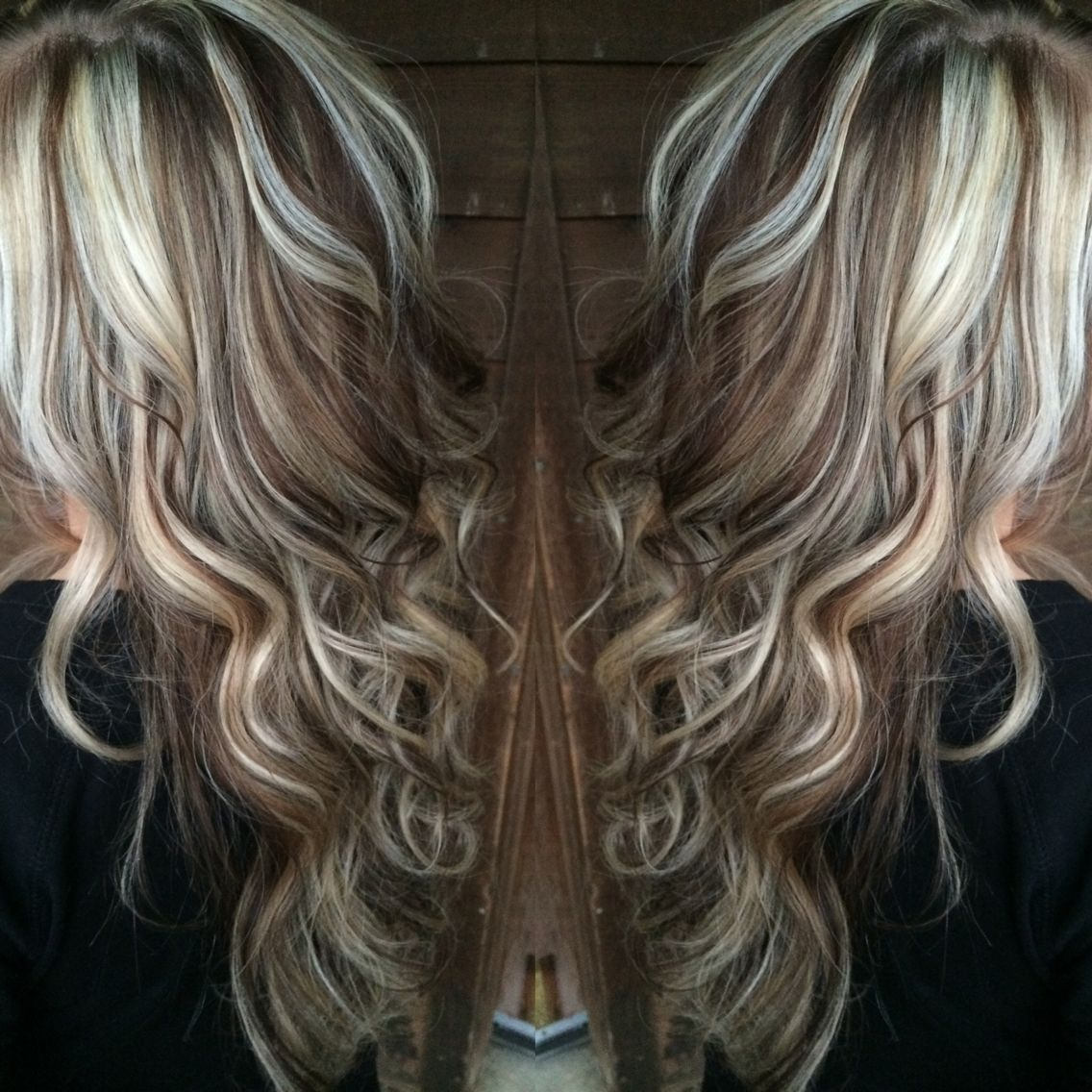Platinum blonde highlights with chocolate brown lowlights beauty