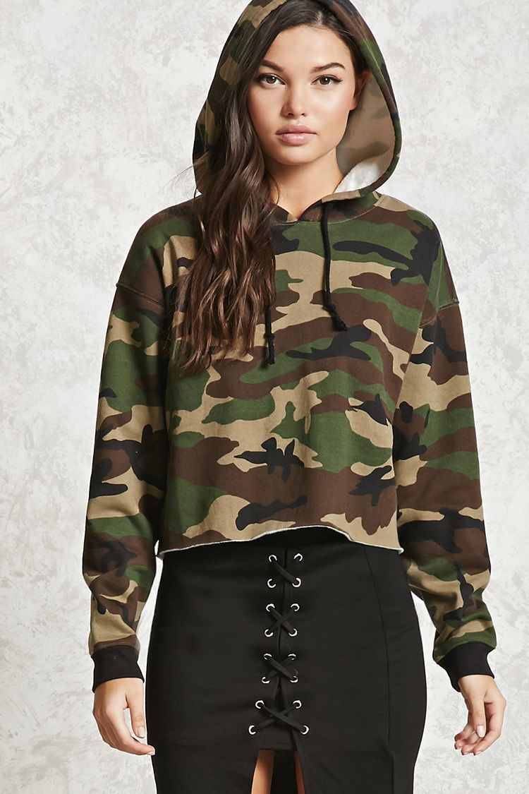 A soft knit boxy hoodie featuring an allover camo print 0b513d51bc4d8