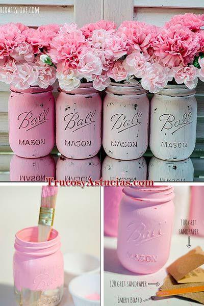 manualidad floreros con tarros pintados Manualidades Pinterest