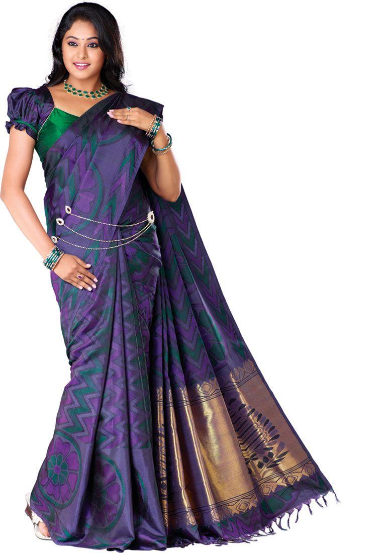 c1da23bcb9ca5 Pure Silk Fancy Saree Kanchipuram Silk Saree Dark Majanta Green Without  Border without Jari