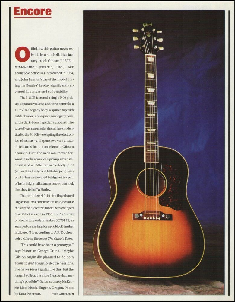 The 1954 Gibson J 160 Acoustic Guitar 8 X 11 Pinup Photo 2000 Article Gibson Guitar Acoustic Guitar Acoustic