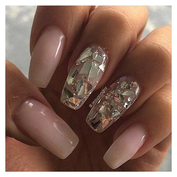 31 Trendy Nail Art Ideas for Coffin Nails ❤ liked on Polyvore featuring  beauty products, nail care, nail treatments and nails - 31 Trendy Nail Art Ideas For Coffin Nails ❤ Liked On Polyvore