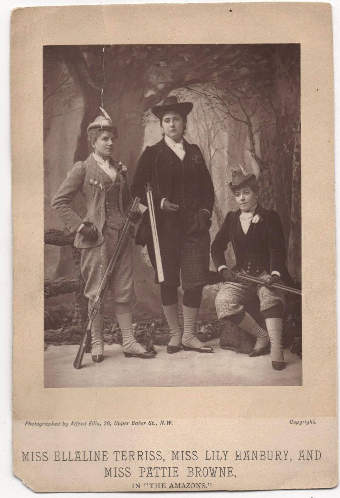 1893 Ellaline Terriss Lily Hanbury Pattie Browne Amazons Photo Theater Card…