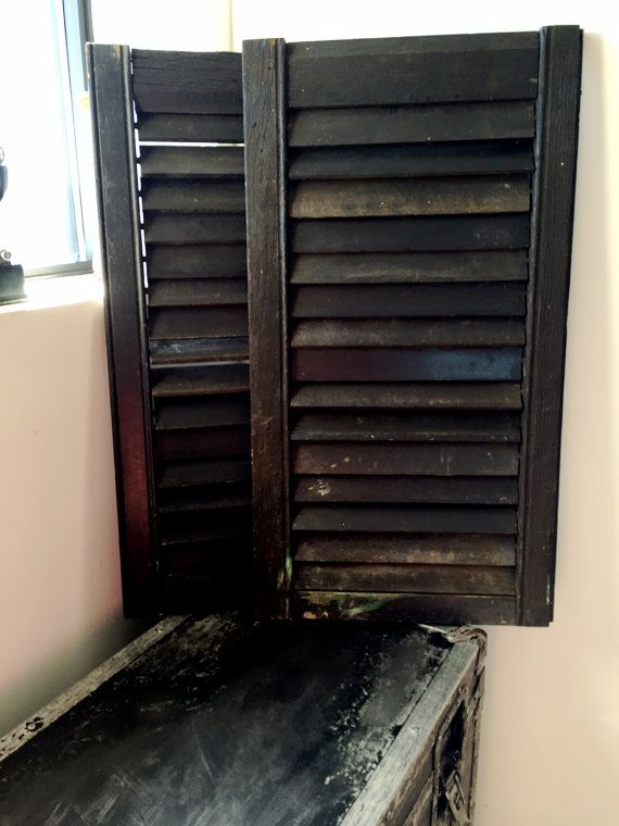 There Is Nothing With More Cottage Charm Than These Medium Sized Black Wood Shutters Each Shutter Is Terrific As A Stand Wood Shutters Black Wood Vintage Wood