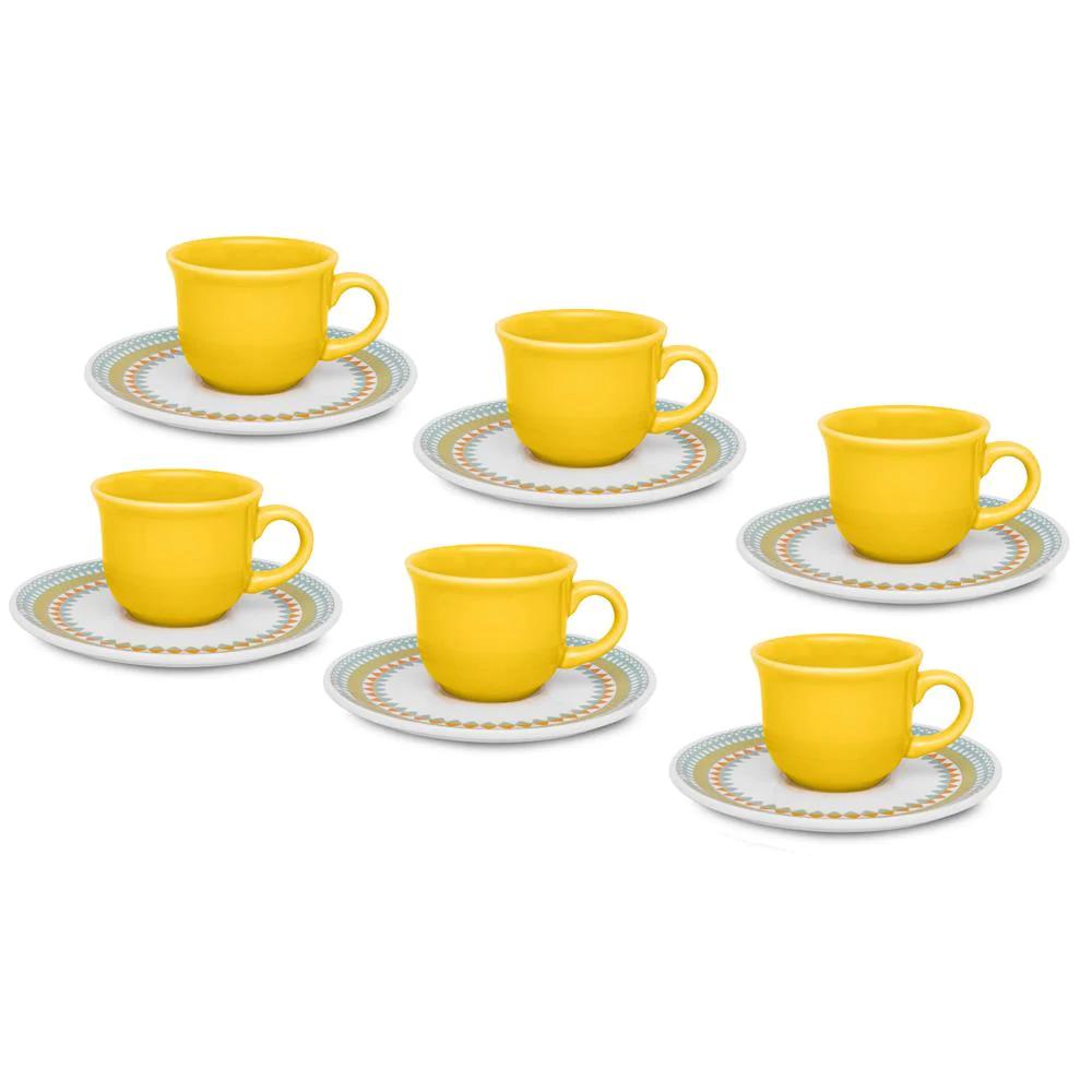 Conjunto De Xicaras Para Cafe Oxford Daily Com Pires Bilro Em Ceramica 75ml 6 Pecas Conjunto De Xicaras Cafe Suqueiras