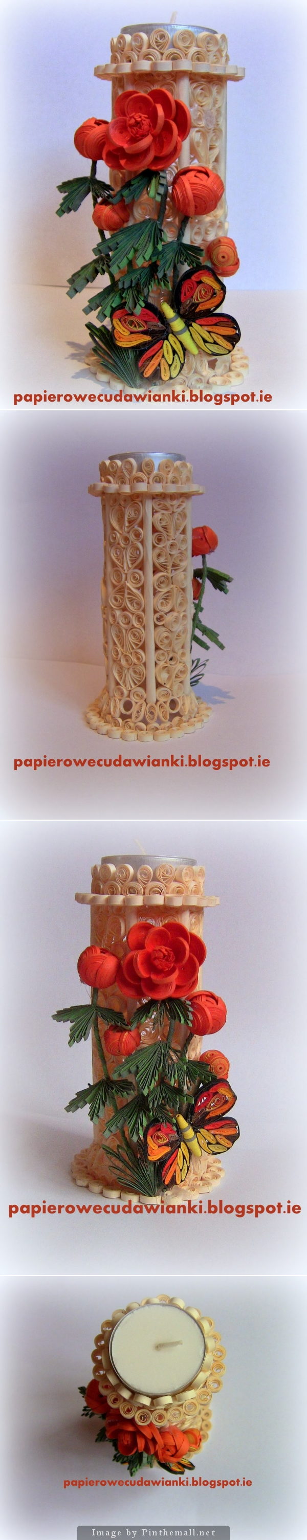 Quilling wedding decorations  Tall candle in glass  Quilling  Pinterest  Quilling Glass and