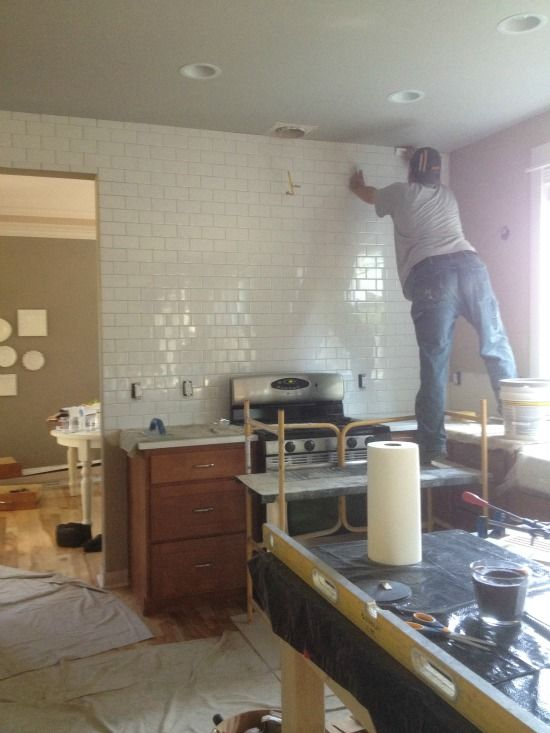 Kitchen Progress Subway Tile And Counters The Inspired Room Subway Tile Subway Tile Kitchen Wall Kitchen Remodel