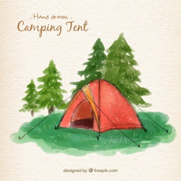 Watercolor Red Camping Tent In A Landscape Camping Drawing Tent