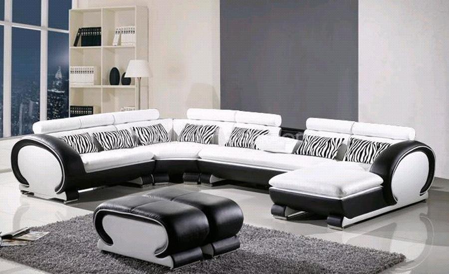 L Shaped Sofa Genuine Leather Corner Sofa W Ottoman Chaise Lounge