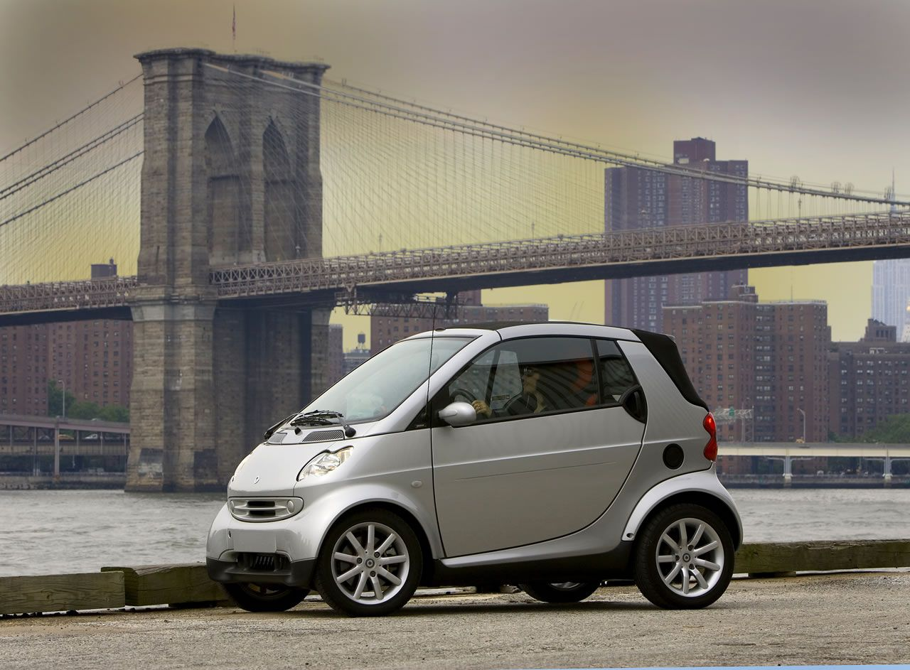 What a view with bridge backgrnd & smart car.