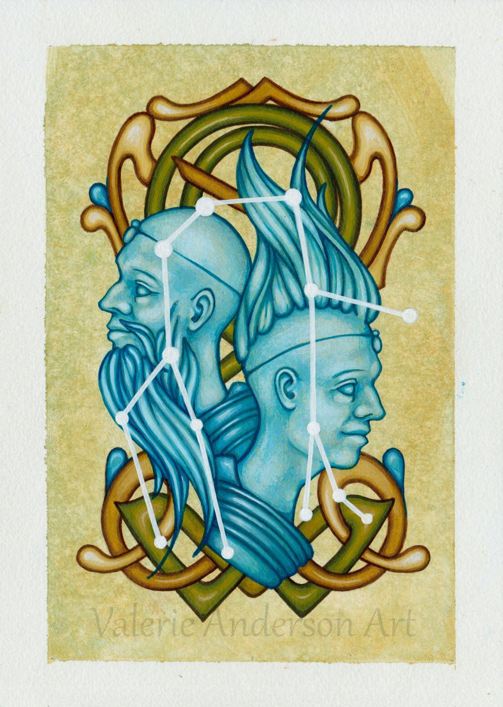 Original Gemini Twins Cosmic Constellation Painting 8 x 10 Mat Included,  blue, Castor Pollux, stars, art nouveau… in 2020 | Zodiac gifts, Original  canvas, Castor and pollux