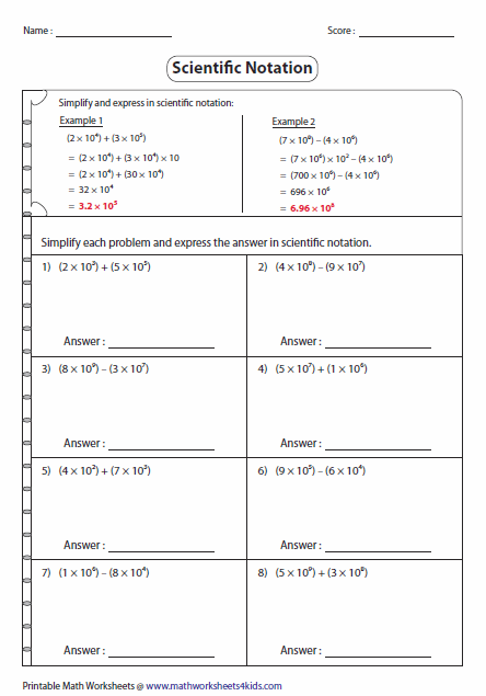 Add And Subtract Scientific Notation Worksheet Google Search