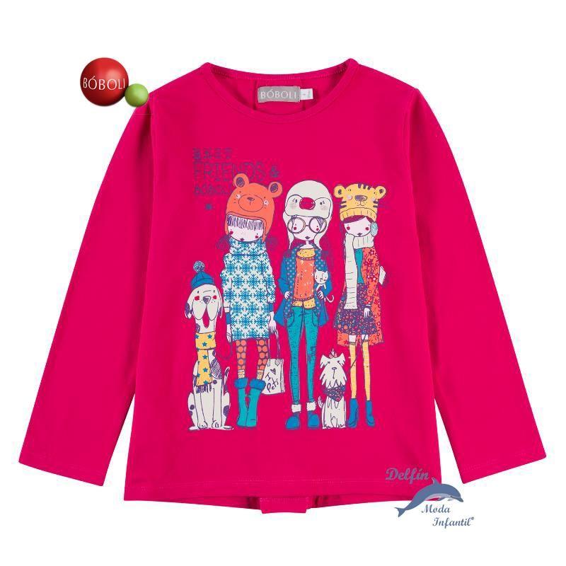 b11135f353d Camiseta de niña BOBOLI manga larga tres niñas y perritos