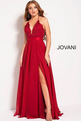 Ruby Flowy Chiffon Spaghetti Straps High Slit Prom Dress 51499 ...