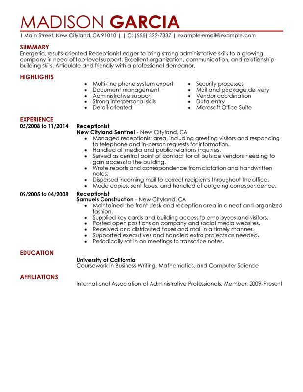 Receptionist Resume Sample \u2013 My Perfect Resume English Pinterest - Example Of A Resume Summary