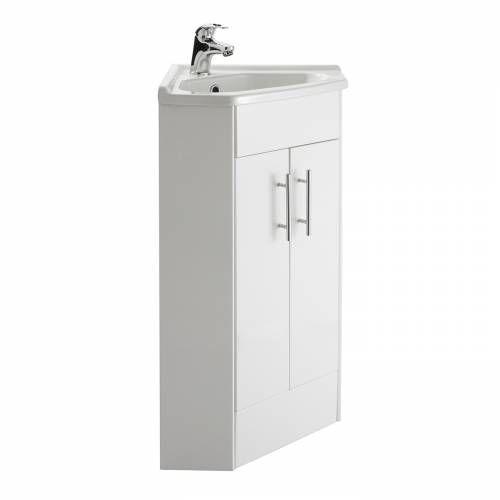 Hudson Reed Eckwaschbecken mit Unterschrank in Hochglanz Weiß - badezimmermöbel weiß hochglanz