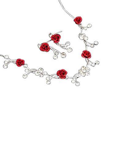 988dd0d64b50 Collar y pendientes plateados con rosas rojas   Pendientes ...