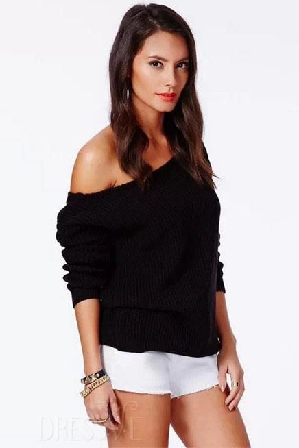 Shop High Quality Black/Blue Off-Shoulder European Style Knitwear At Dressve.Com, And The Price Is Low Only At US$26.99