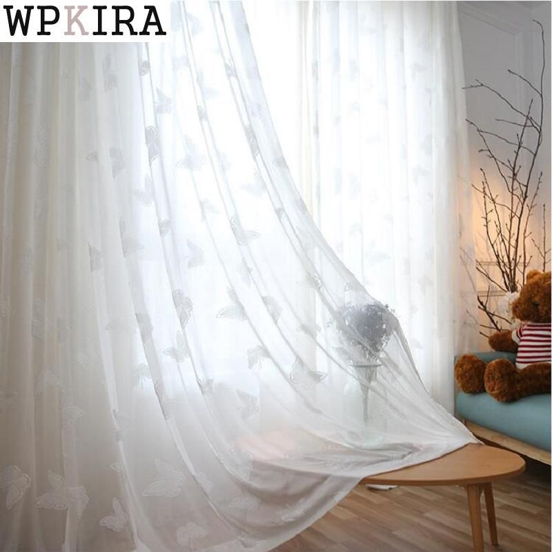 Modern Solid Flocked Butterfly Soft Sheer Curtains For Living Room