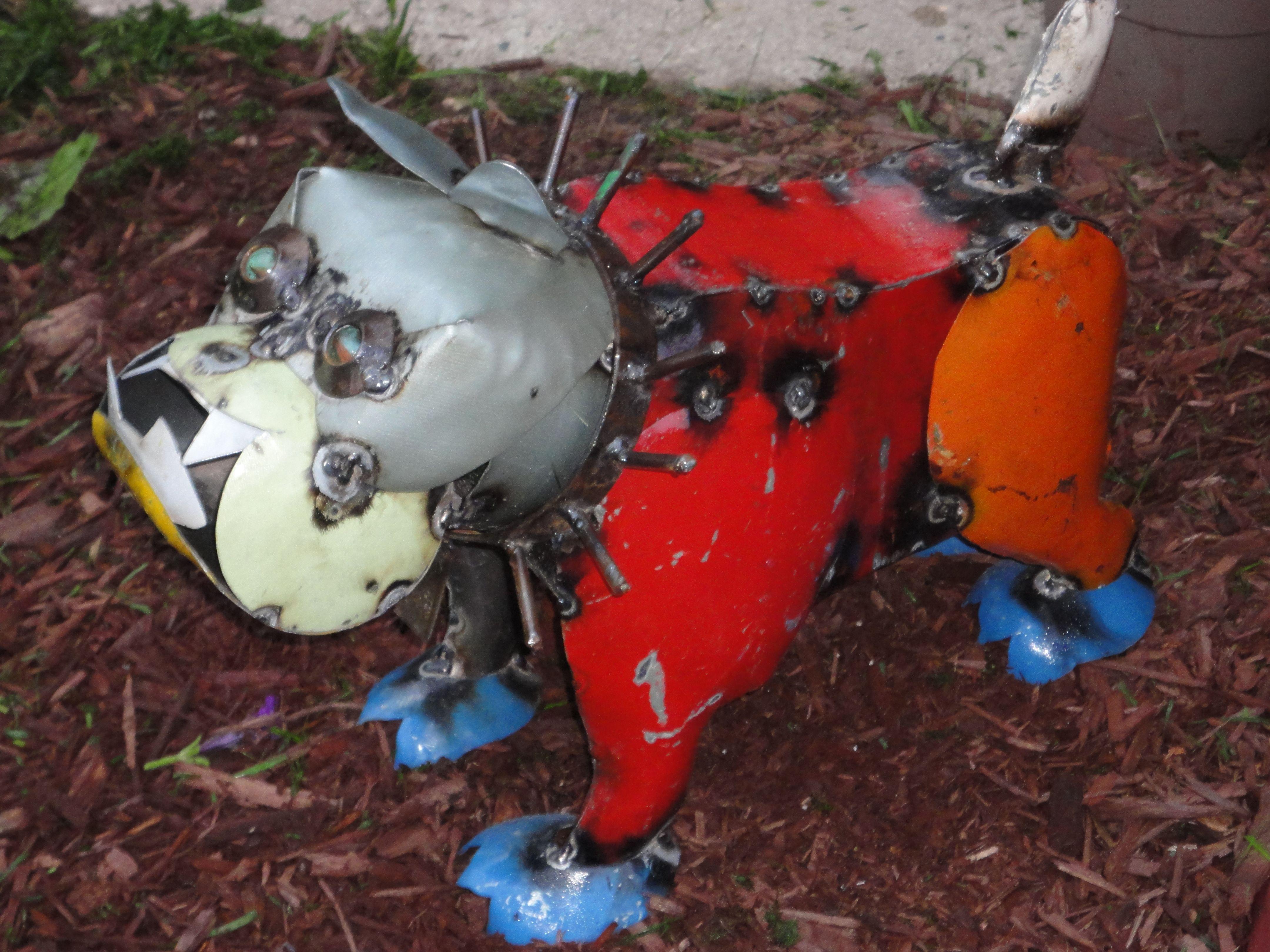 Metal Bulldog/Yard Art In Backyard