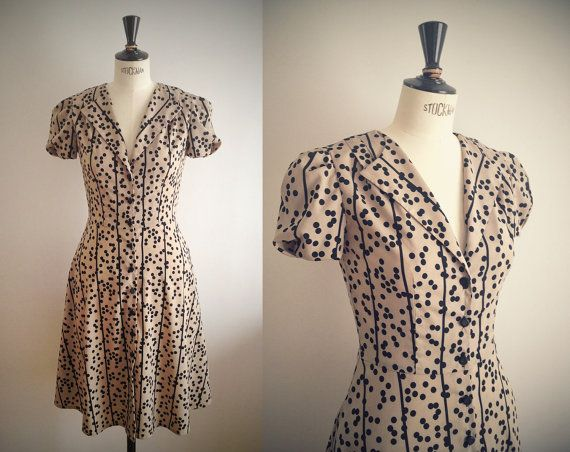 1940s Dress / Beige & black dots print / Swing dress / WW2 Tea Dress ...