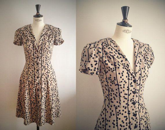 1940s Dress / Beige & black dots print / Swing dress / WW2 Tea Dress ...