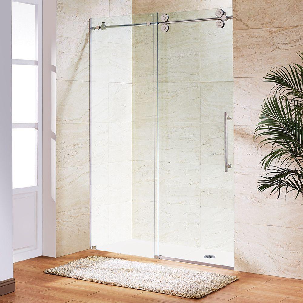 Vigo Clear Glass Frameless Sliding Shower Door (Stainless Steel Hardware), Silver