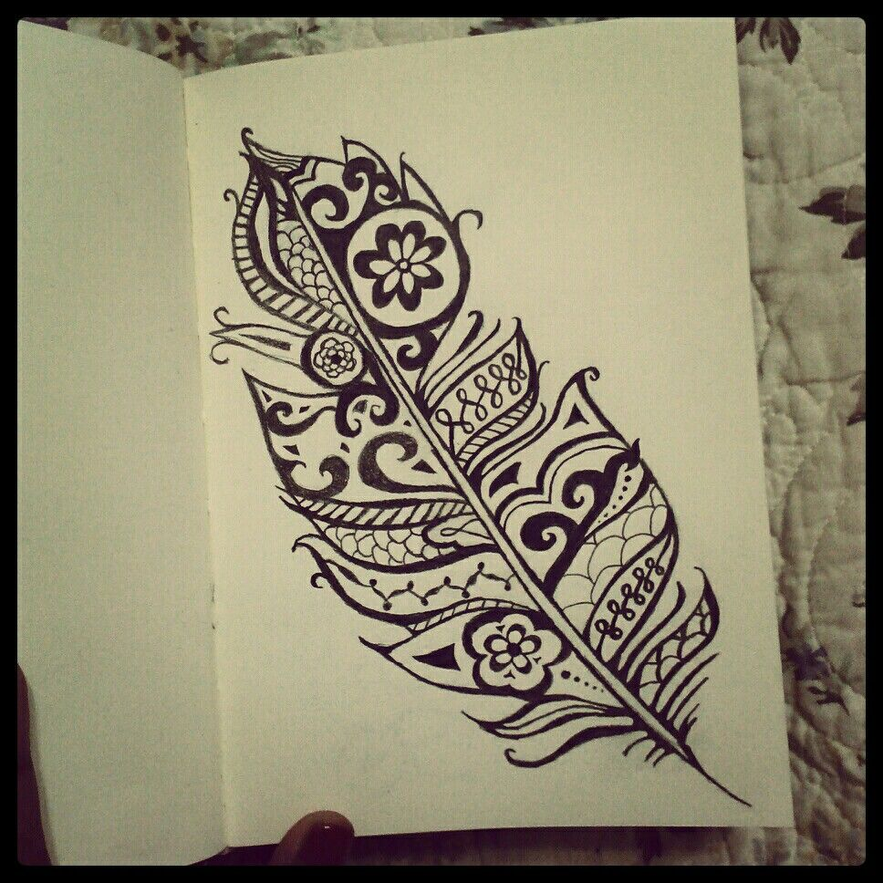 Feather Henna Tattoo Designs: My Black And White Drawings