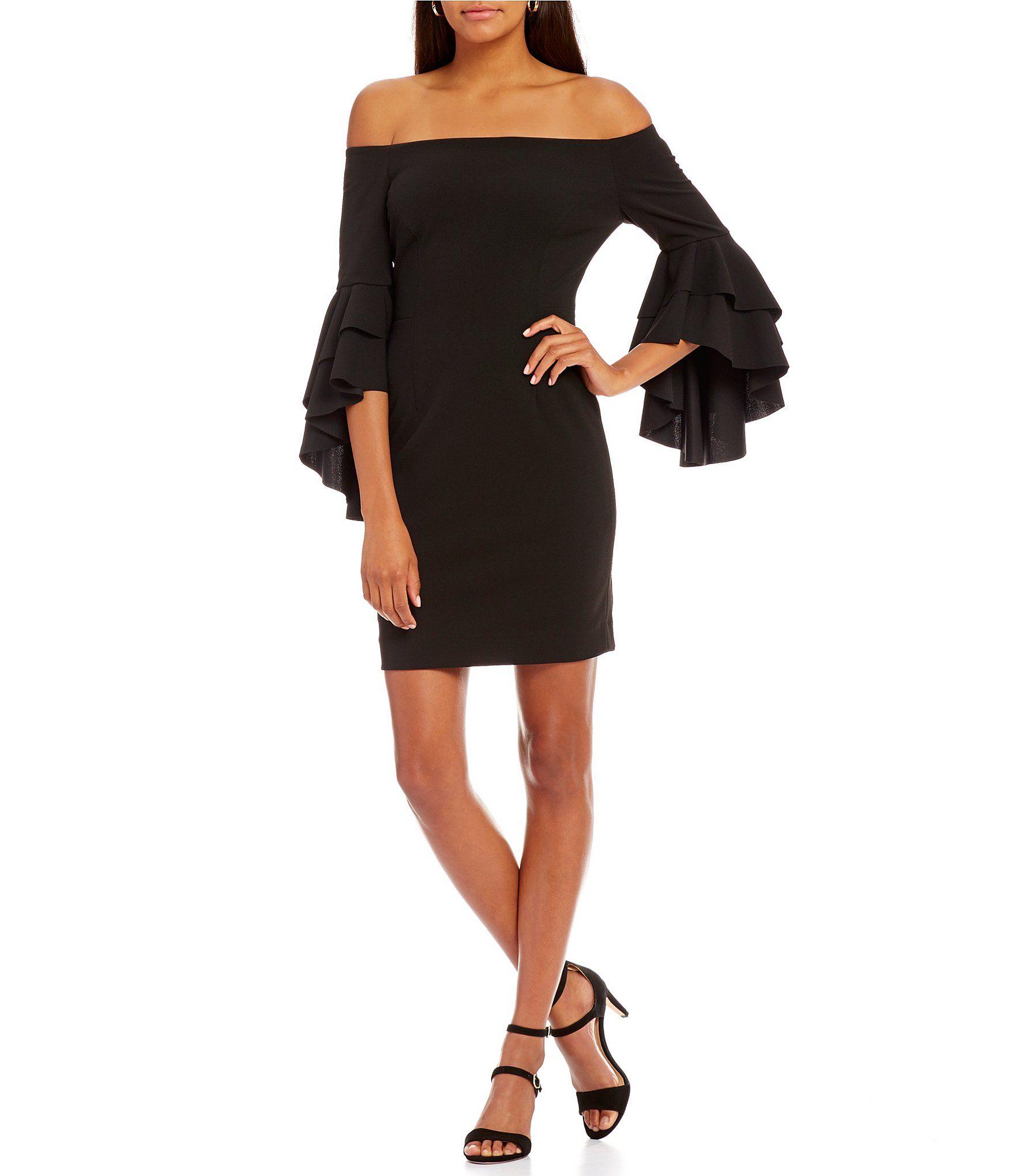 Dillards long sleeve black dresses