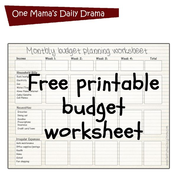 Free printable monthly budget worksheet planner pinterest free printable budget worksheet how to create a monthly budget for beginners one mamas daily drama ibookread ePUb