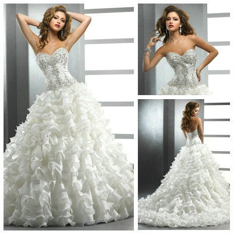 Awesome Layers Organza Skirt Ball Gown Siver Beads Corset Bodice Strapless Wedding Dress Pattern