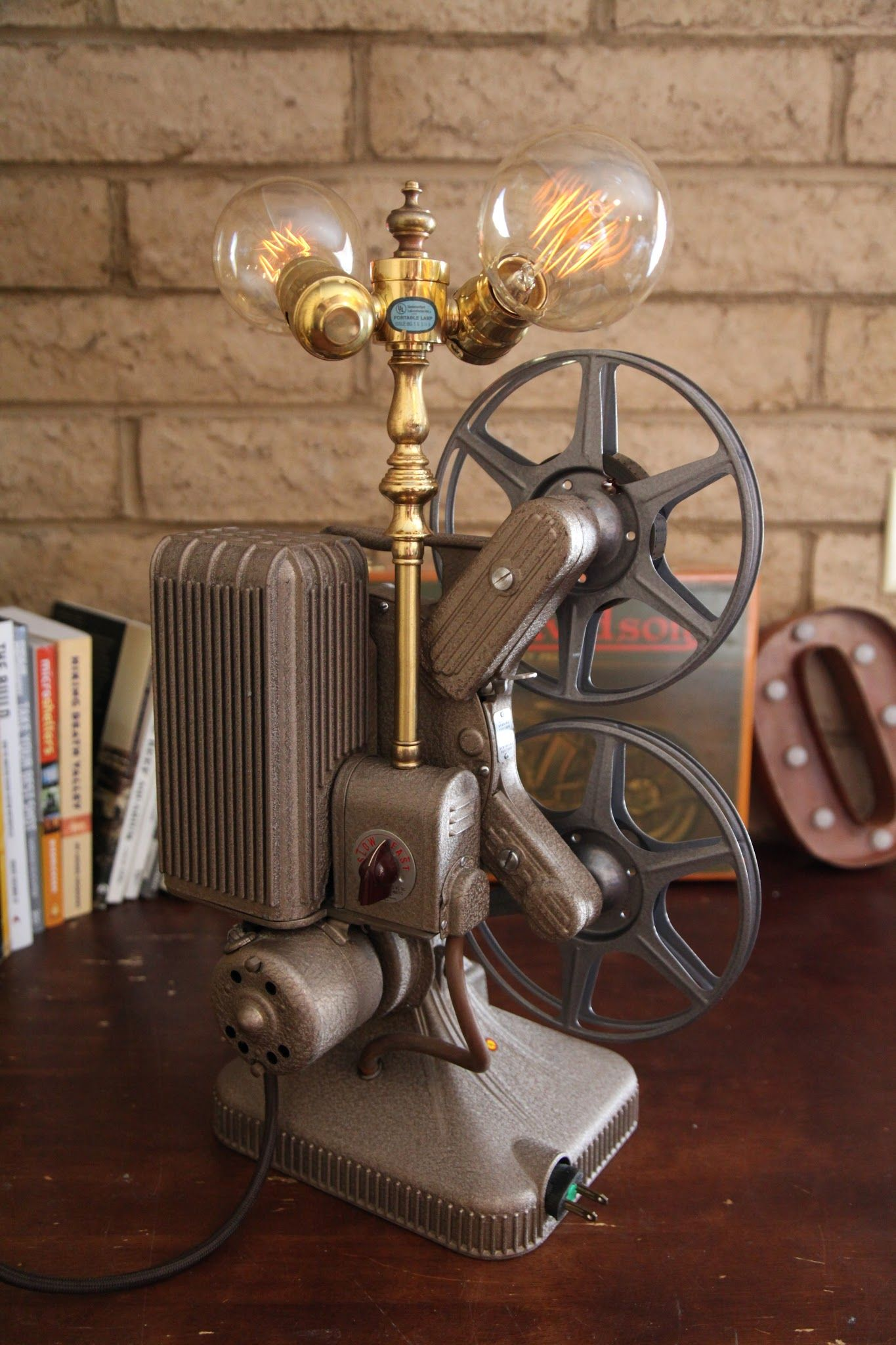 Vintage Projector Lamp With Edison Bulb Camera Lamp Lamp Touch Lamp