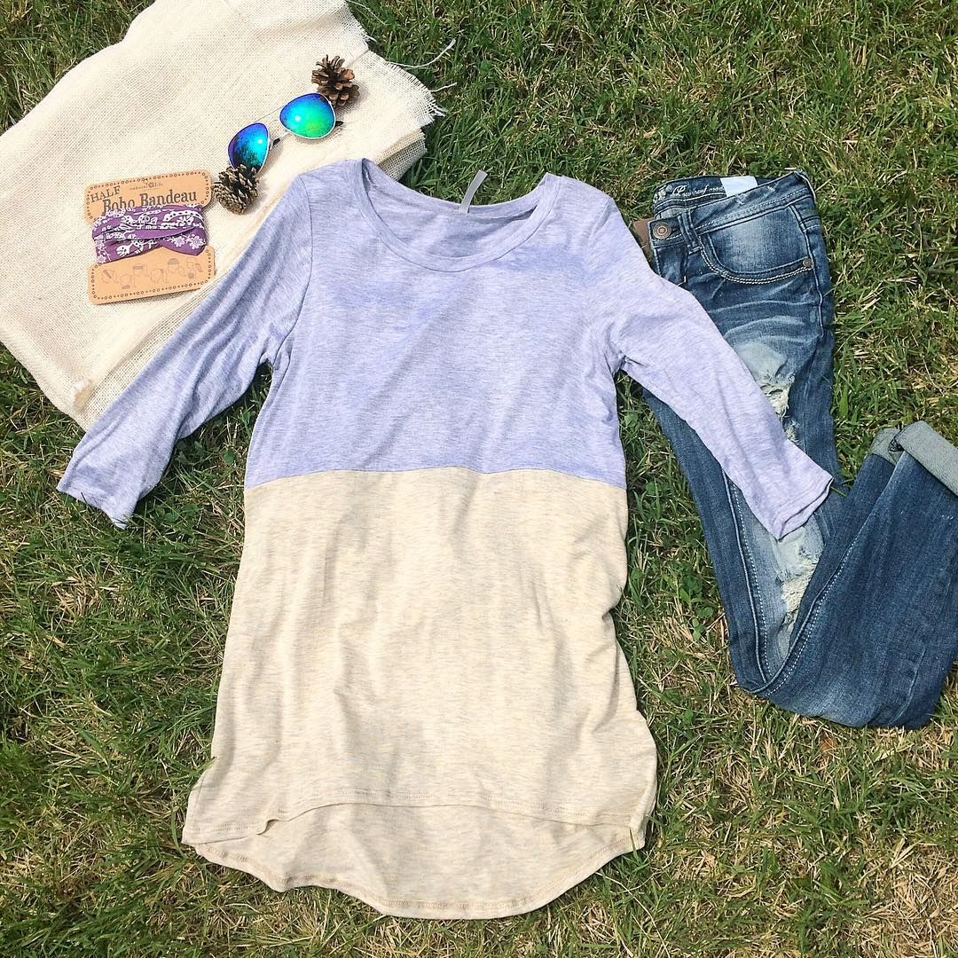 Cute & Casual look for LESS!  this adorable color block top is just $19.99 & a great addition to your wardrobe!  denim- $44.99 | boho bandeau- $9 #piaceboutique #boutiquefashion #ootd #lookforless #chic #style
