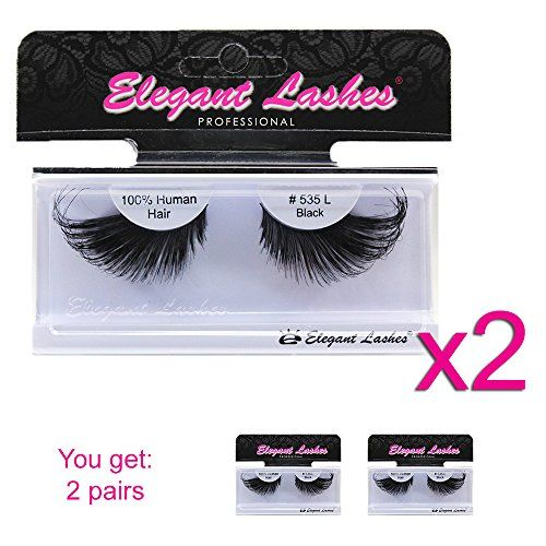 Elegant Lashes 535L Thick Long Black Human Hair False Eyelashes for Drag Queen Halloween Dance Costume  sc 1 st  Pinterest & Elegant Lashes 535L Thick Long Black Human Hair False Eyelashes for ...