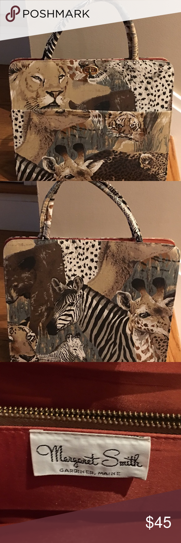 1c711a4a9994 Vintage Margaret Smith Animal Print Tote Handbag Margaret Smith vintage  cotton canvas purse. Amazing condition. Silk lining. Front pocket.