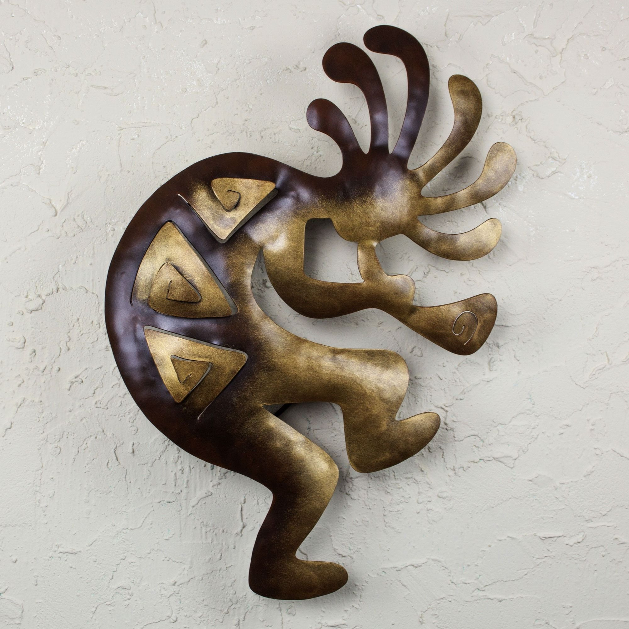 Rustic Metal Wall Art Sculptures Novica Kokopelli Peace Indoor Outdoor Decorator Accent Brown And
