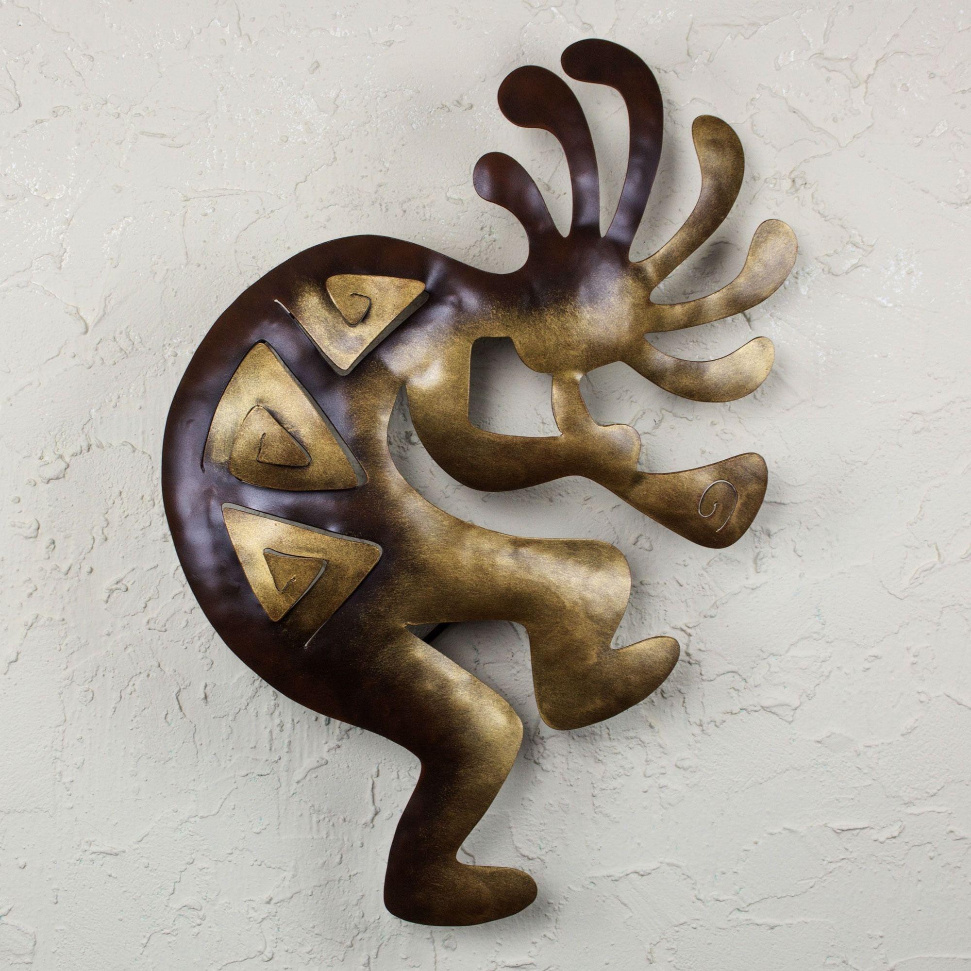Rustic Metal Wall Art Sculptures Adorable Novica Kokopelli Peace Indoor Outdoor Decorator Accent Brown And Inspiration