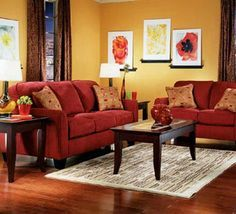 Possible red love seat with yellow walls notice rug Decor
