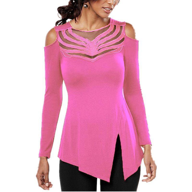 Cold Shoulder Blouse Mesh Stitching O neck Long Sleeve Shirts Split Irregular Hem Solid