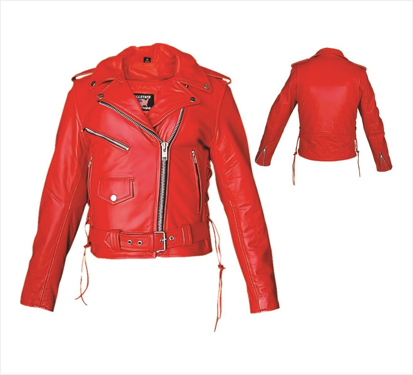 Womens Red Leather Motorcycle Jacket with Side Laces by Allstate