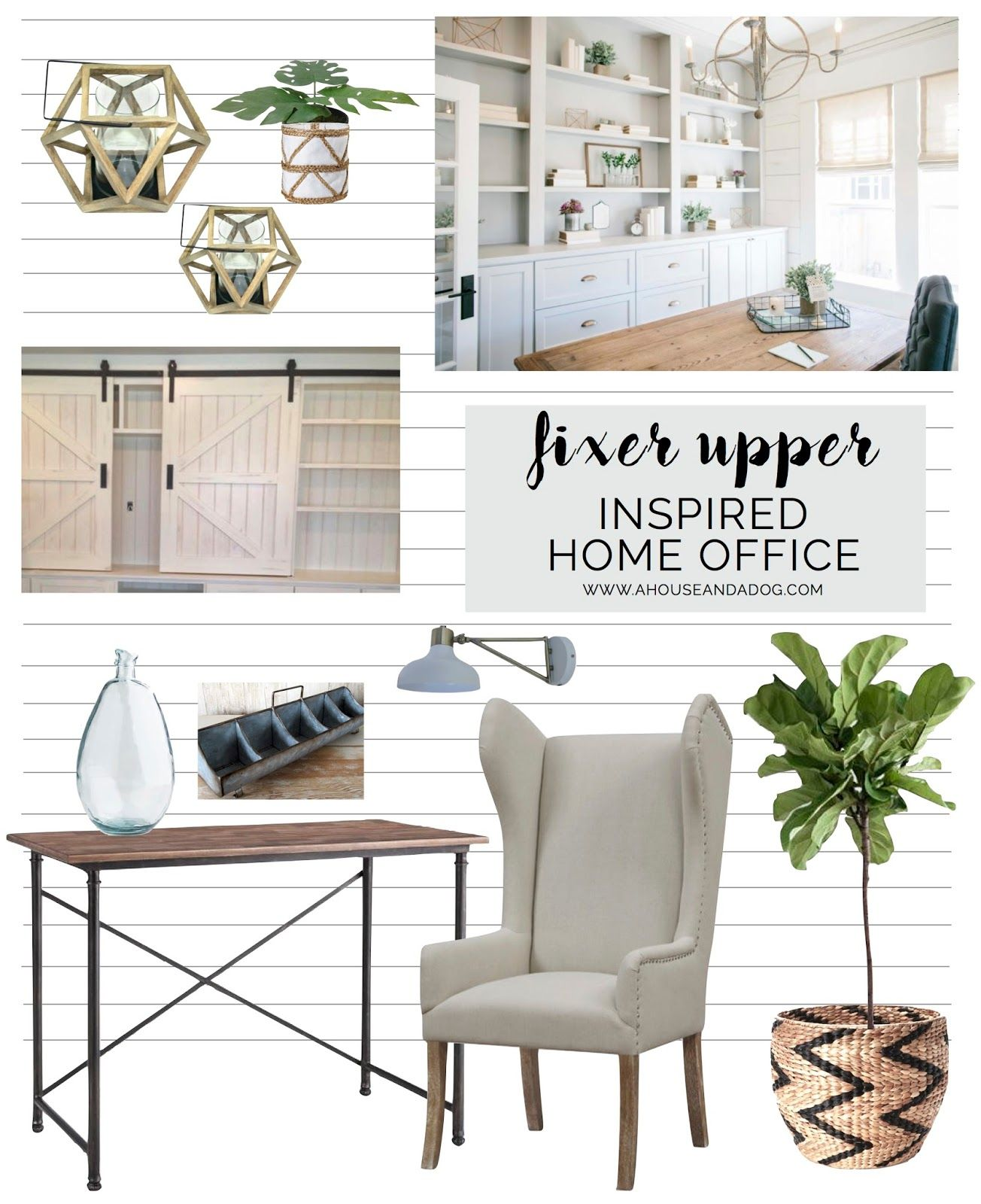 35 Modern Home Office Design Ideas: Fixer Upper Inspired Office Makeover