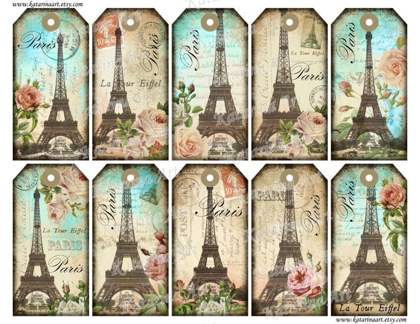 Eiffel tower ~ printable gift Tags.. Whimsical, Vintage & Shabby chic