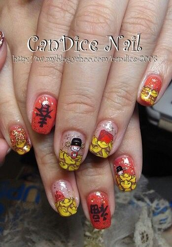 Chinese New Year Nails Art Nail Art Pinterest Manicure