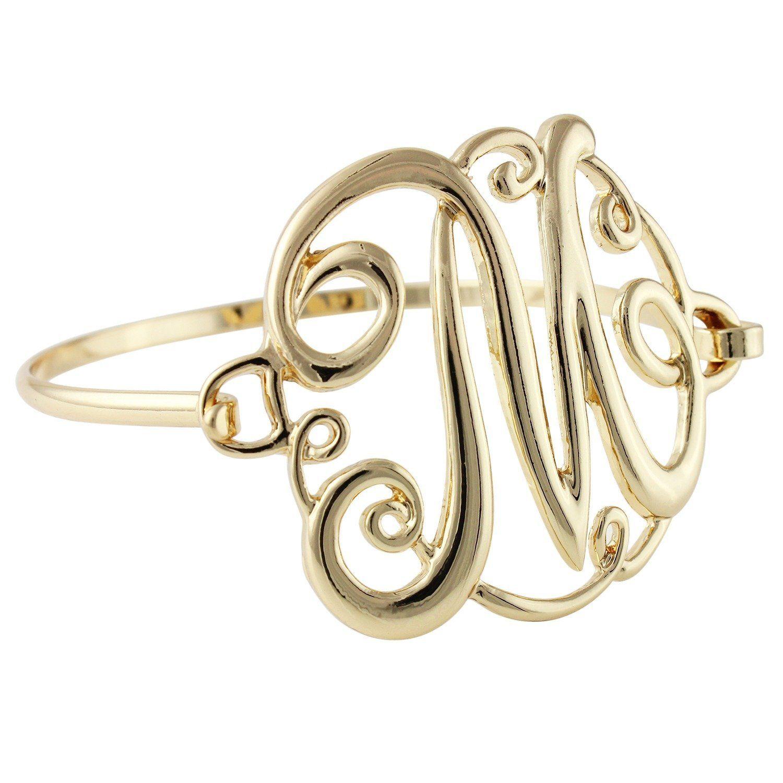 Goldtone Letter M Amazing Cursive Monogram Initial Statement Bangle Bracelet >>> You can get additional details at the image link.