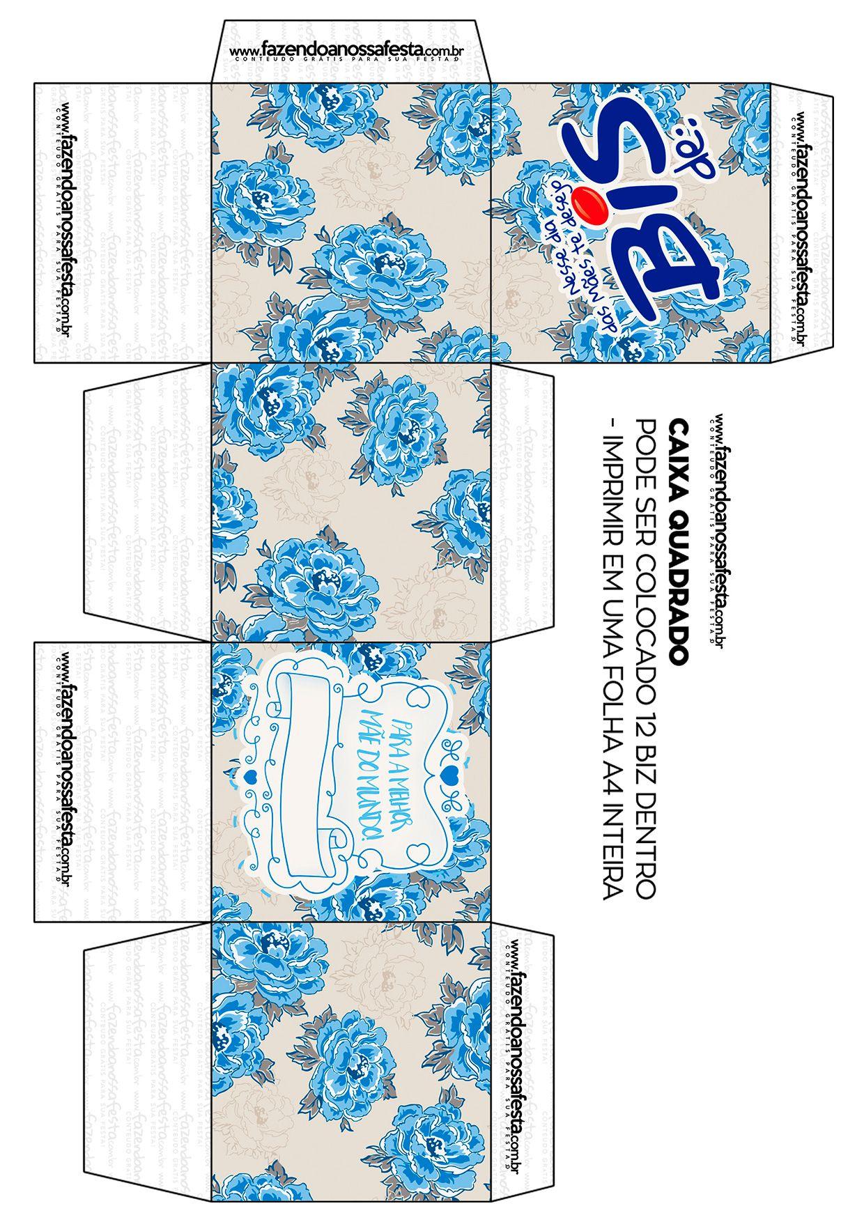 Caixa Cubo Dia Das Maes Floral Azul Adesivos Personalizados