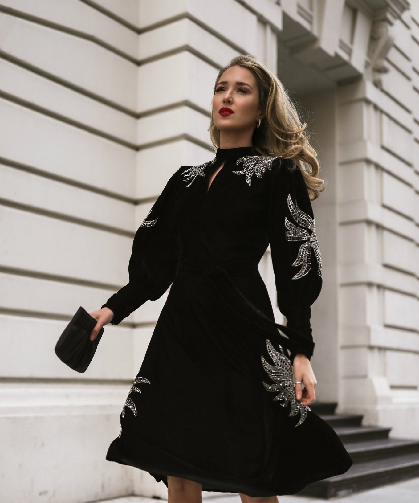 Dodo Bar Or Black Dress.Nyc Style Blogger In Dodo Bar Or Velvet Dress With Embellishments