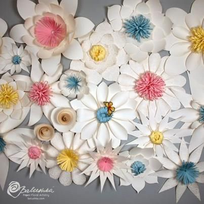 Handmade paper flowers with colorful centers make a beautiful handmade paper flowers with colorful centers make a beautiful backdrop mightylinksfo